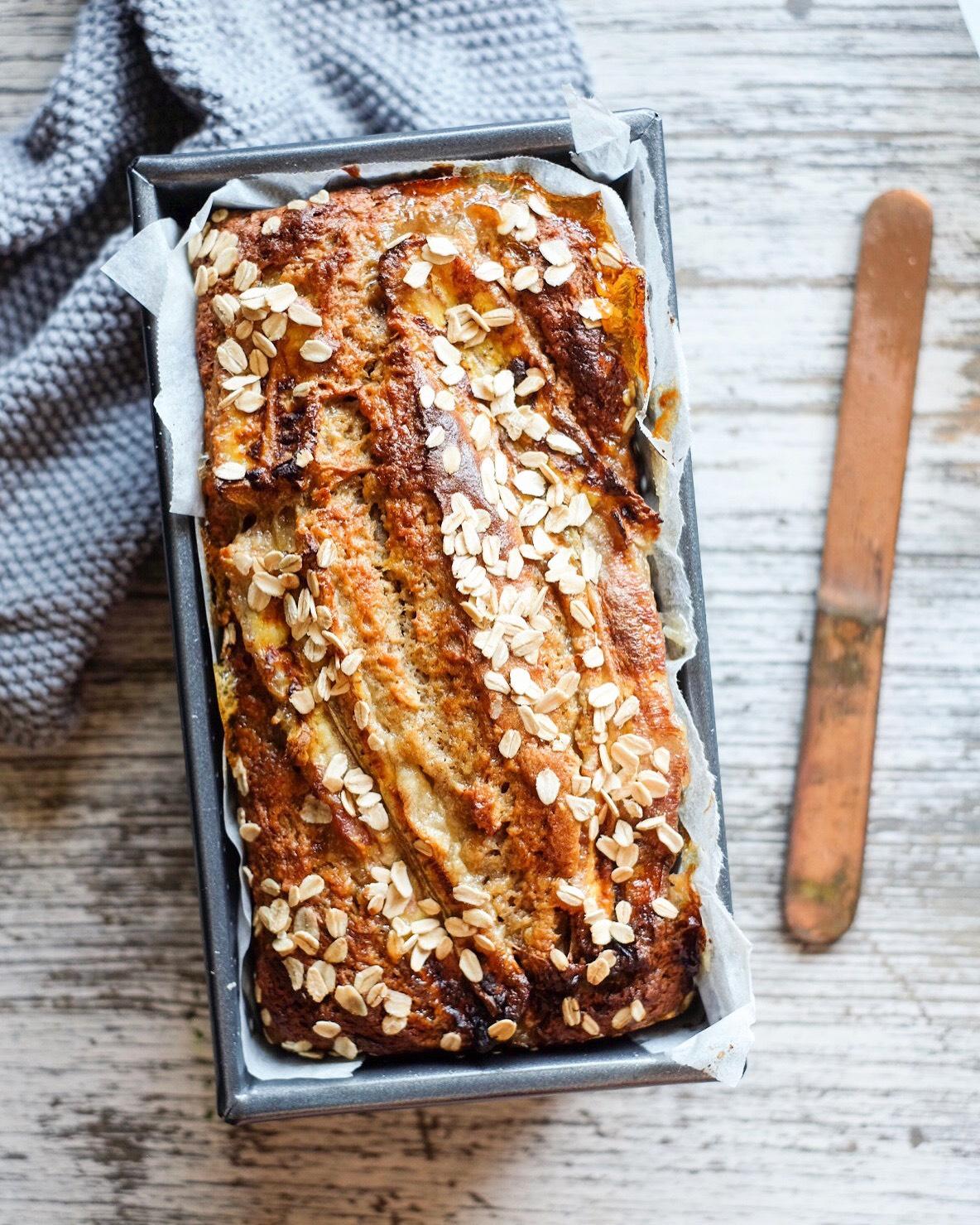 Healthy honey and oat banana bread