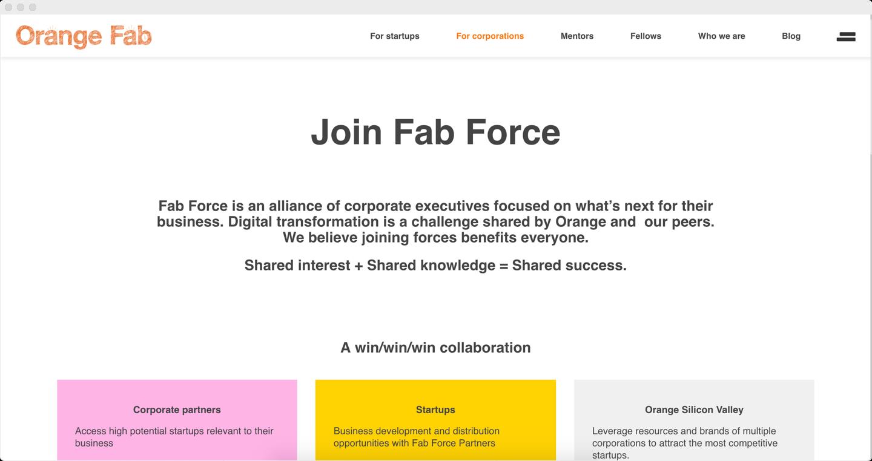 OrangeFab.com page for corproations