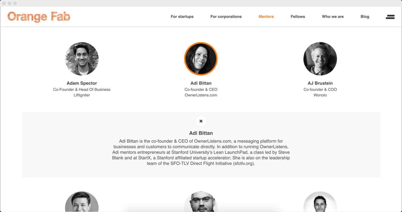 Orange Fab mentor page