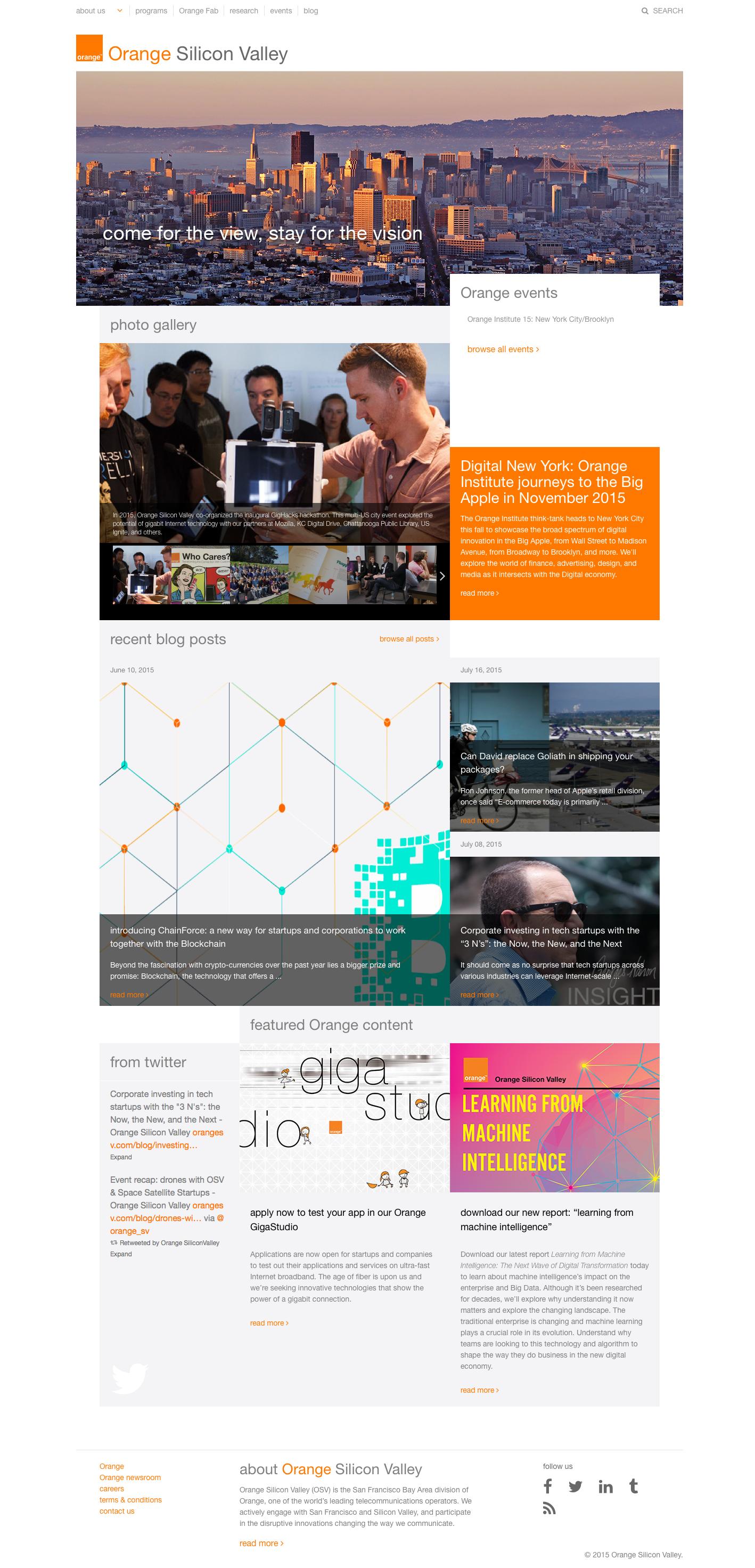OrangeSV.com 1.0 landing page