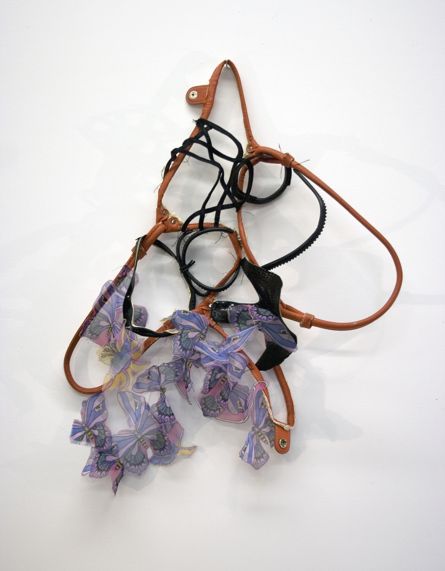 """Sara Hubbs, How High Can You Go? discarded shoes, purse, fabric, & thread, approximately 25"""" x 18"""" x 6"""""""