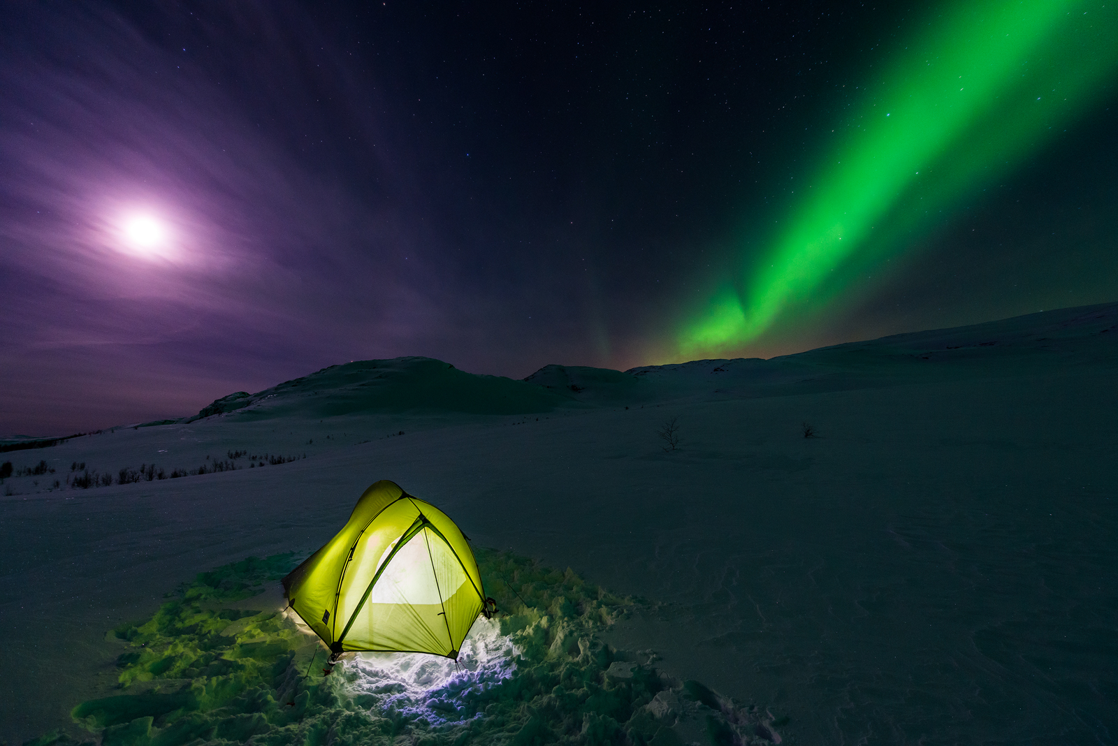 My tent at Njunesgeahči mountain, Abisko National Park, Sweden