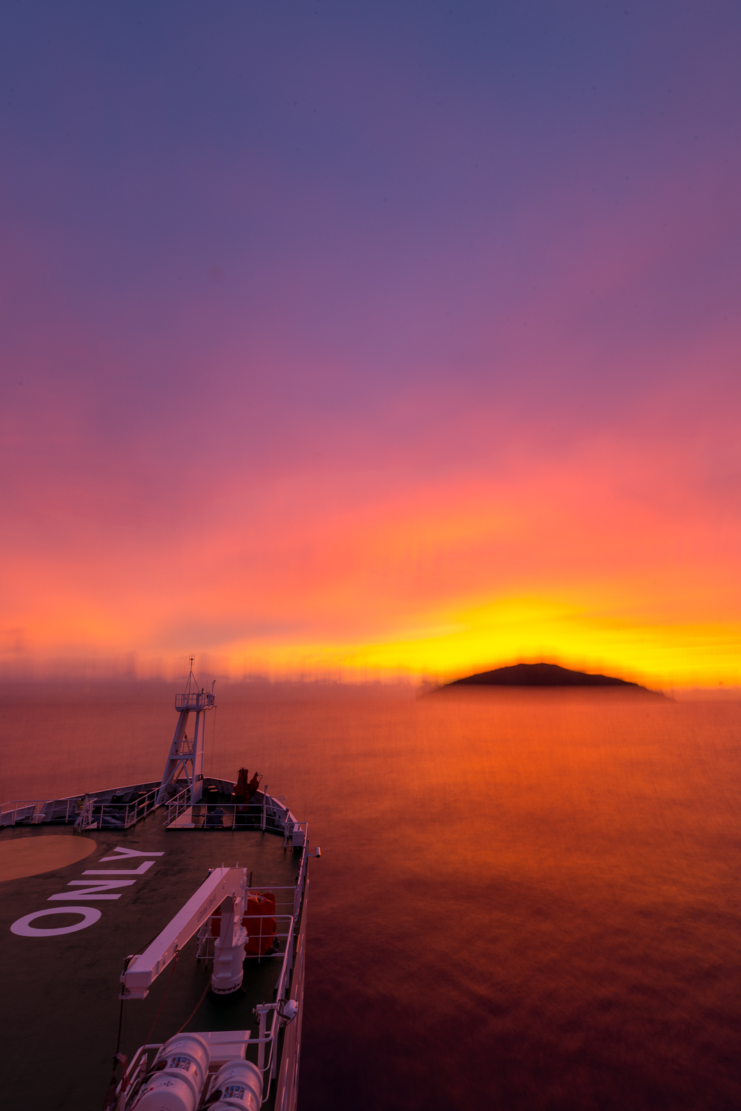 Long exposure of Macauley Island in sunrise.