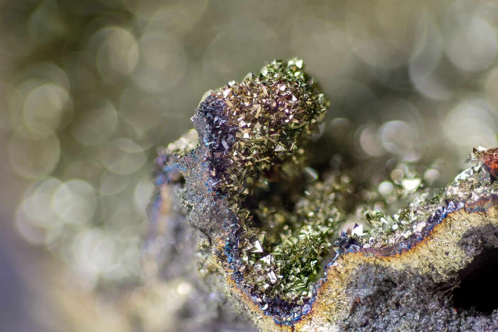 Closeup of chalcopyrite crytals covering the inside of a chimney.