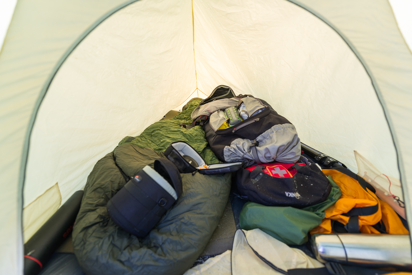Inside my tent - it´s small, but it fits me and my backpack well.
