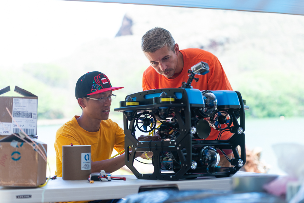 Preparing the ROV (remotely operated vehicle) for its first underwater deployment.