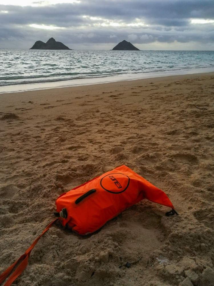 Getting ready at Lanikai beach with Moku Nui on the left side on the horizon.
