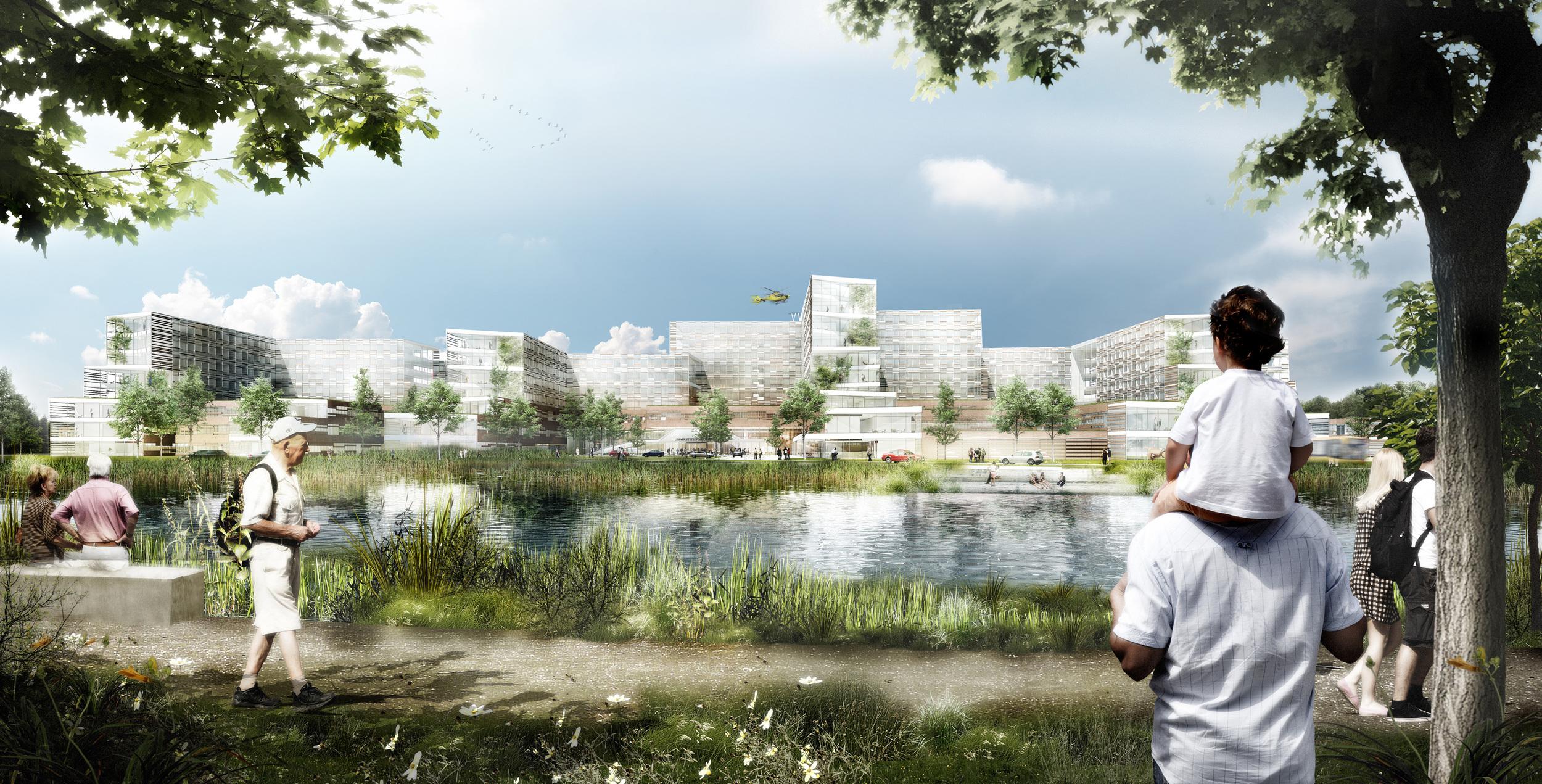 Illustration af det nye universitetssygehus i Køge, som C.F. Møller har skabt sammen med blandt andre CUBO Arkitekter, Gehl Architects. Illustration: USK