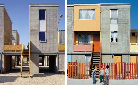 Elemental-hus i Chile. Før og efter. Foto: Elemental
