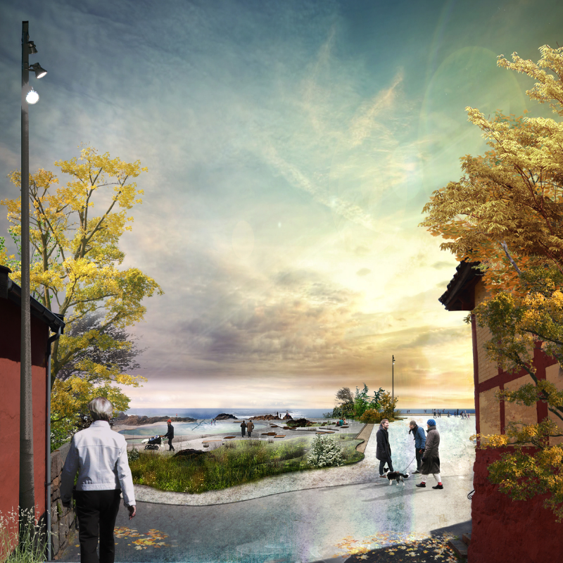 """Sådan her kunne SLA godt tænke sig, at Allinge skulle se ud i fremtiden. Man kan læse hele deres oplæg """"Den Naturlige Samtale""""  her , De øvrige arkitektteams i parallelopdraget blev ført an af  Mutopia  og  JaJa architects ."""