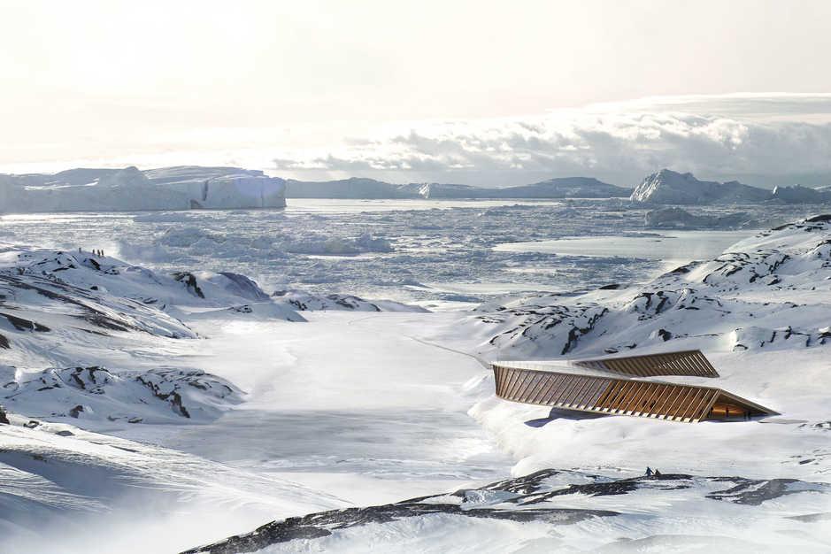 Dorte Mandrup arkitekters rendering af Isfjordscentret i vinterlandskabet ved Ilulissat isfjord i Vestgrønland.