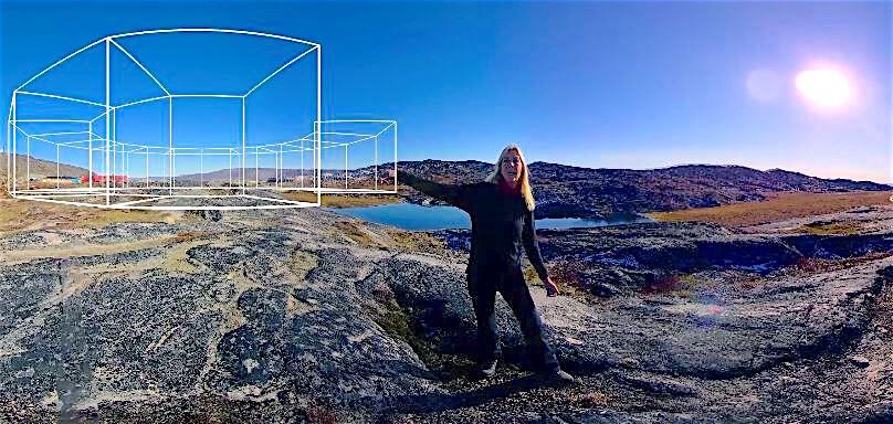 Frame grab fra VR-filmen SPRINGET - om Dorte Mandrups kreative proces med at skabe Isfjordscentret og Vadehavscentret.