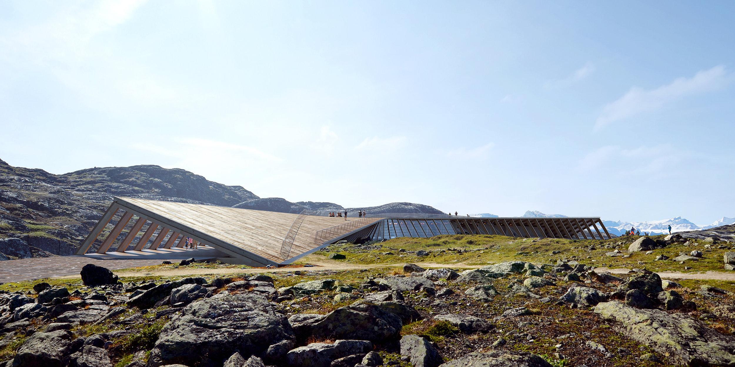 Rendering fra Dorte Mandrup arkitekter af Isfjordscentret, hvor man ser, hvordan taget udformes som en sti, der formidler overgangen til selve Ilulissat isfjord.