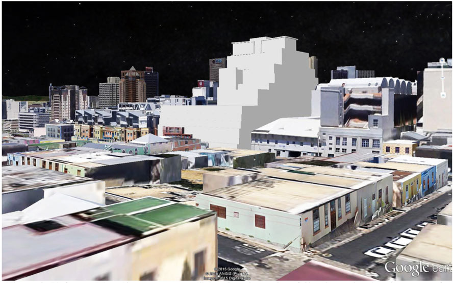 Bird's Eye View Photo-montage utilizing Google Earth and SketchUp, showing the proposed building (in white in the centre) in its setting when looking towards the east from above Chiappini and Church Streets  (courtesy Wynand Tromp of Rick Brown Architects)