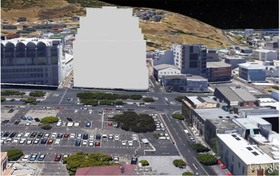 Bird's Eye View Photo-montage utilizing Google Earth and SketchUp, showing the proposed building (in white in the centre) in its setting, with Riebeeck Square and Heritage Square in the foreground (to the left and right, respectively) (courtesy Wynand Tromp of Rick Brown Architect