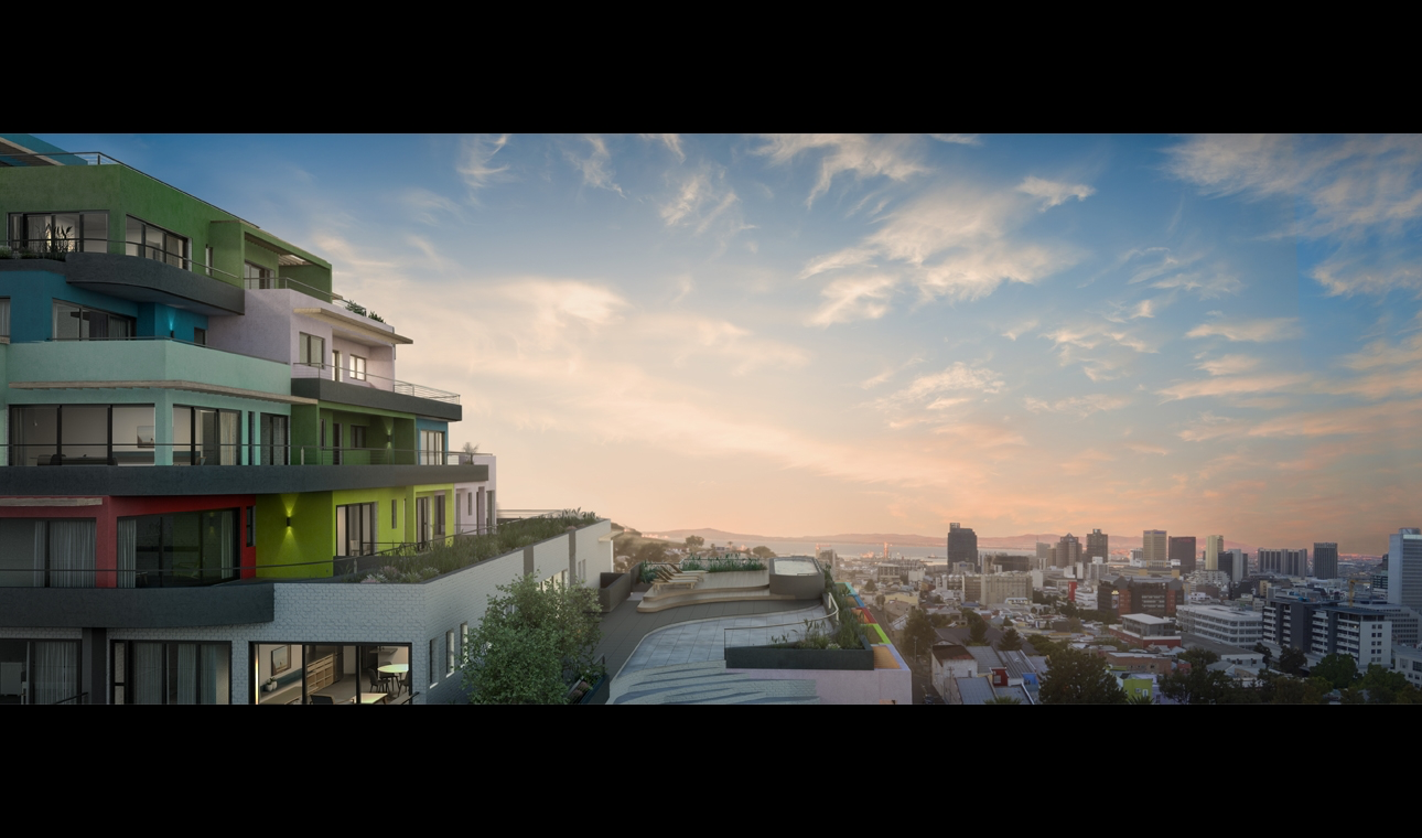Image from developer's marketing material showing apartments and the swimming pool terrace looking down over neighbouring properties