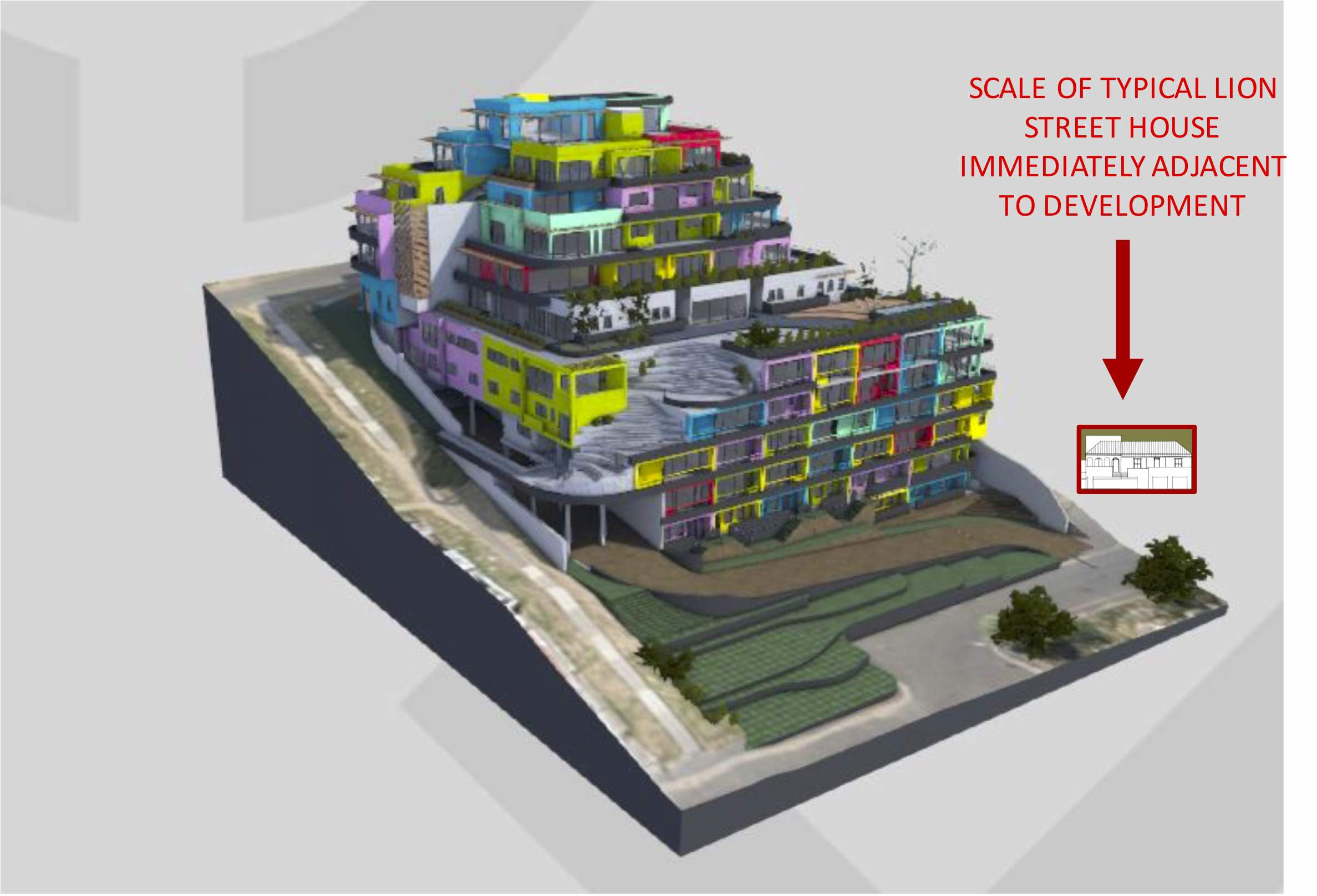 Image from Annexures provided by the developer to motivate their application to the City of Cape Town - the current proposal has retaining walls and a car ramp along the street edge.