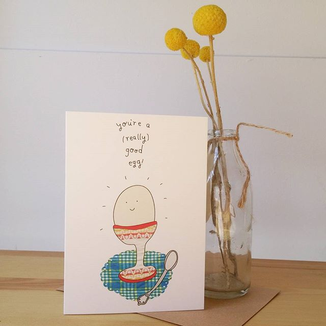 This newbie is fresh on the shelf this morning at @brickandmortarcreative. Just in time for Valentines day, but really, pretty good for any day when you just want to say, 'you're a good egg' 🍳 haha does a fried egg emoji count? #illustration #goodegg #greetingcard #supportlocal #adelaidecreatives #norwood #popupshop #penandink #collage