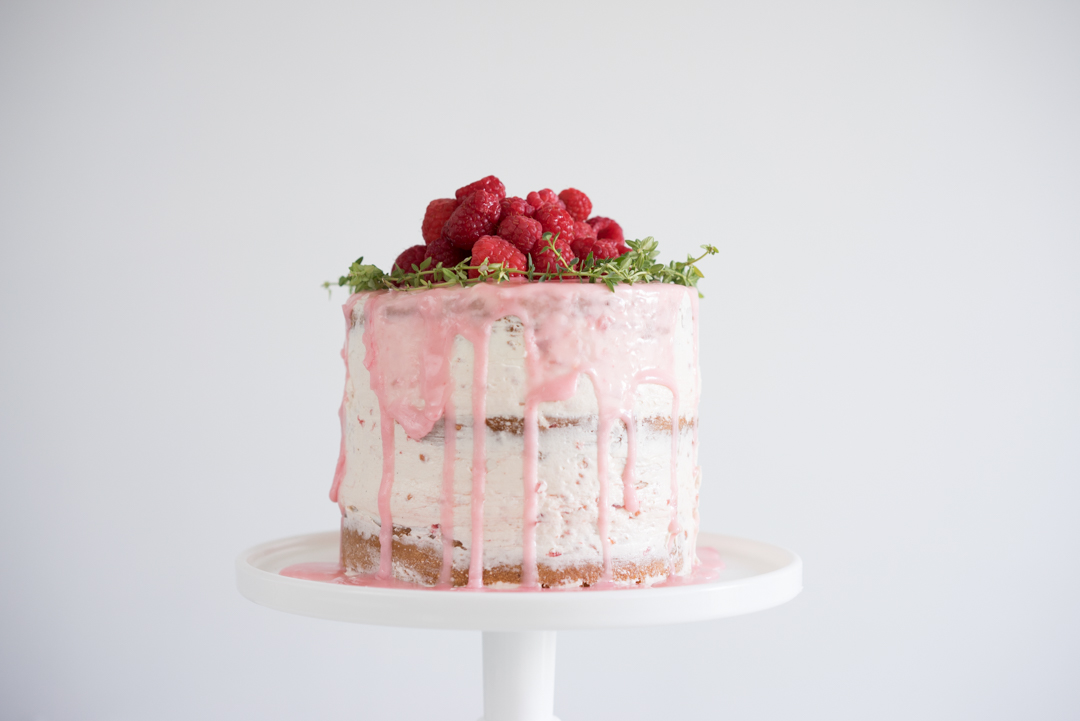 Orange thyme cake with fresh raspberry german buttercream