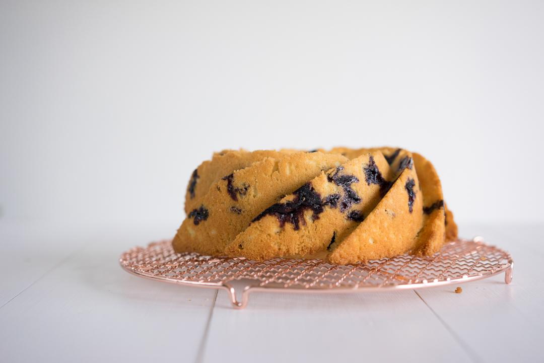 Lemon and Blueberry Bundt cake with a lemon blueberry glaze