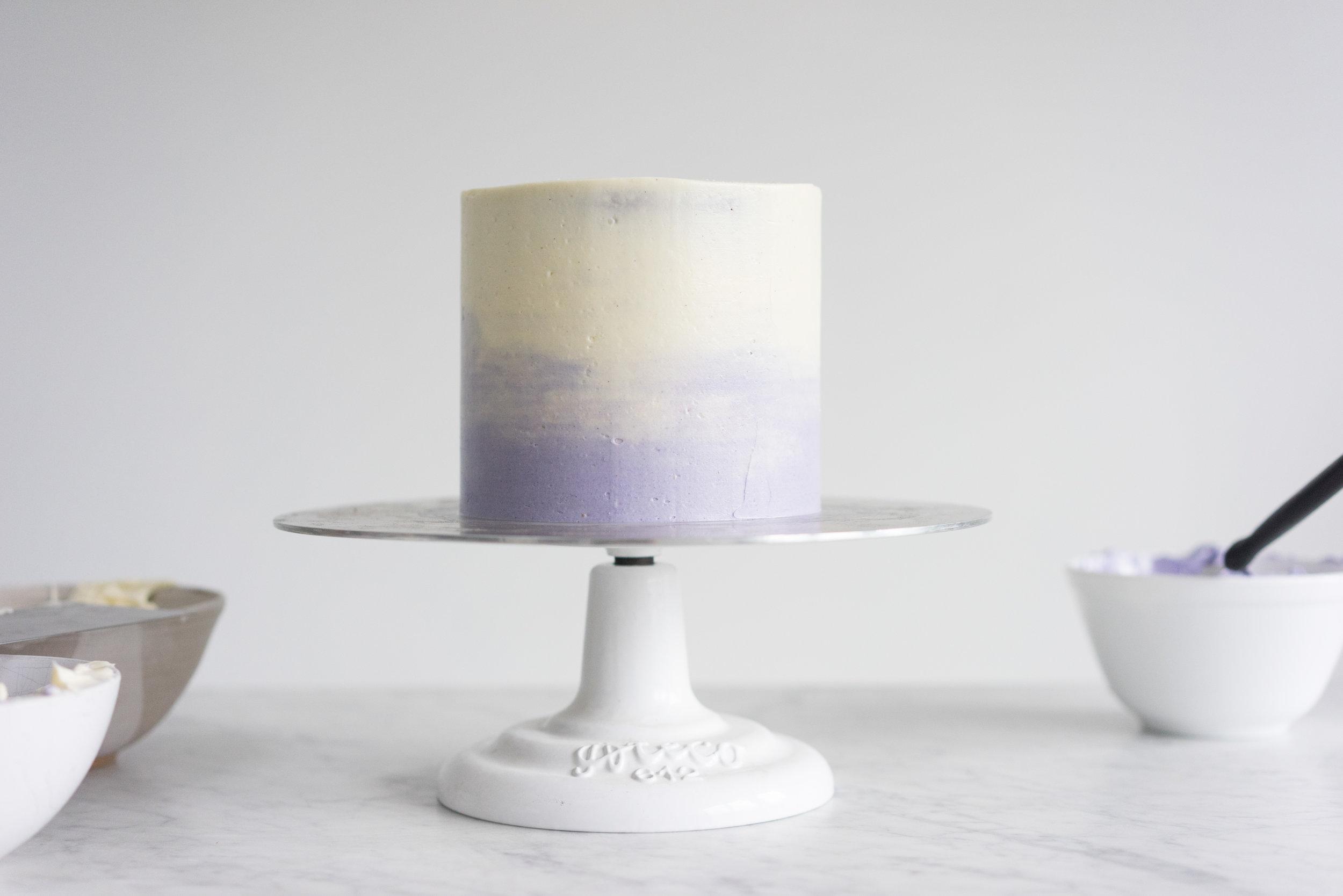 Honey lavender cake with vanilla german buttercream and lavender ganache drip