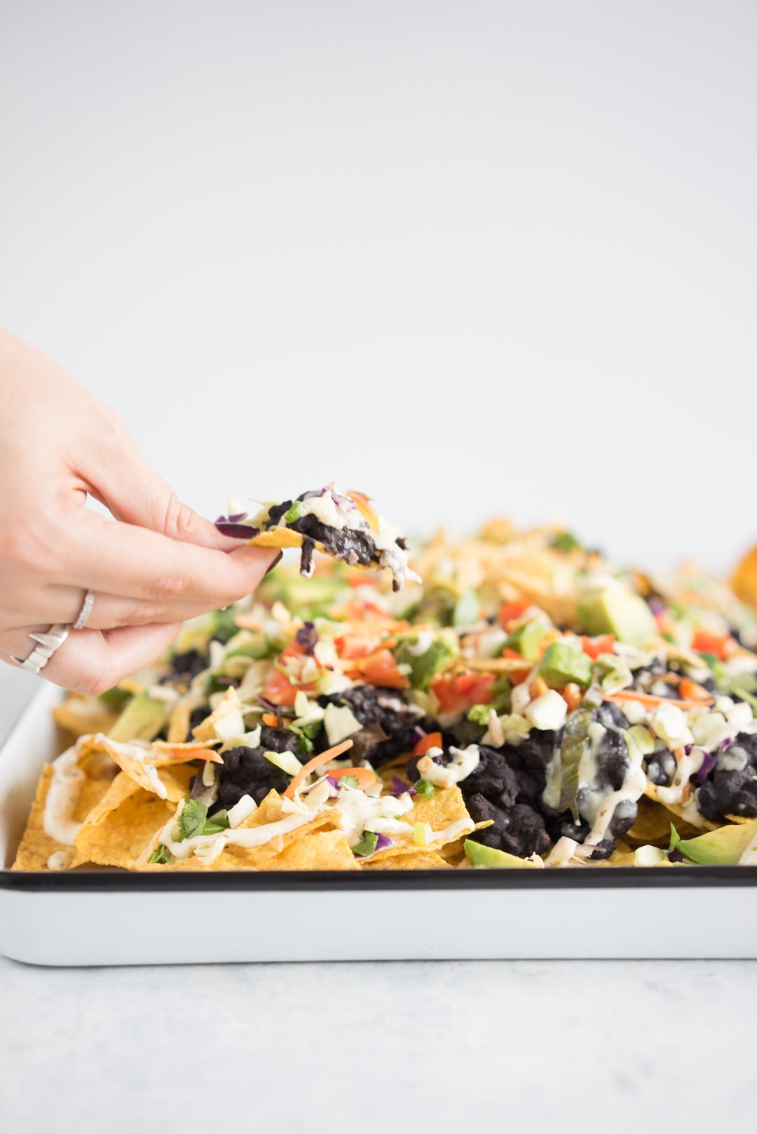 Black bean sheet pan nachos - the perfect simple throw together dinner