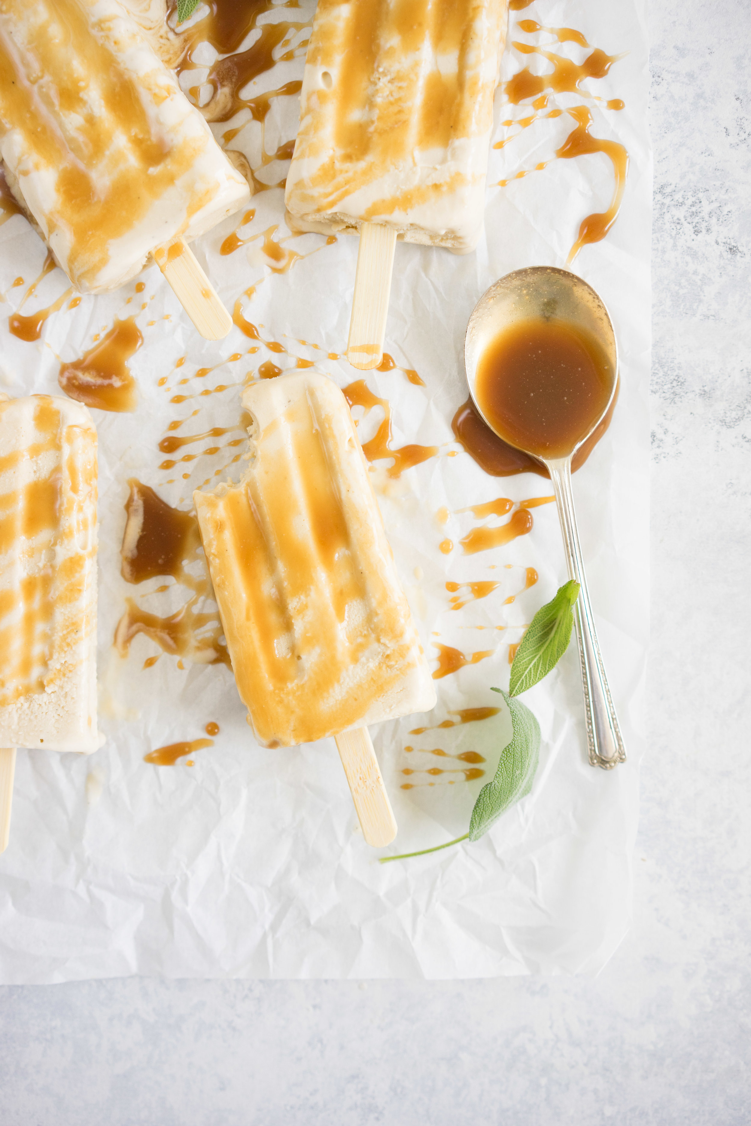 Sage salted caramel Ice-cream pops from Lily Diamond's new book, Kale and Caramel