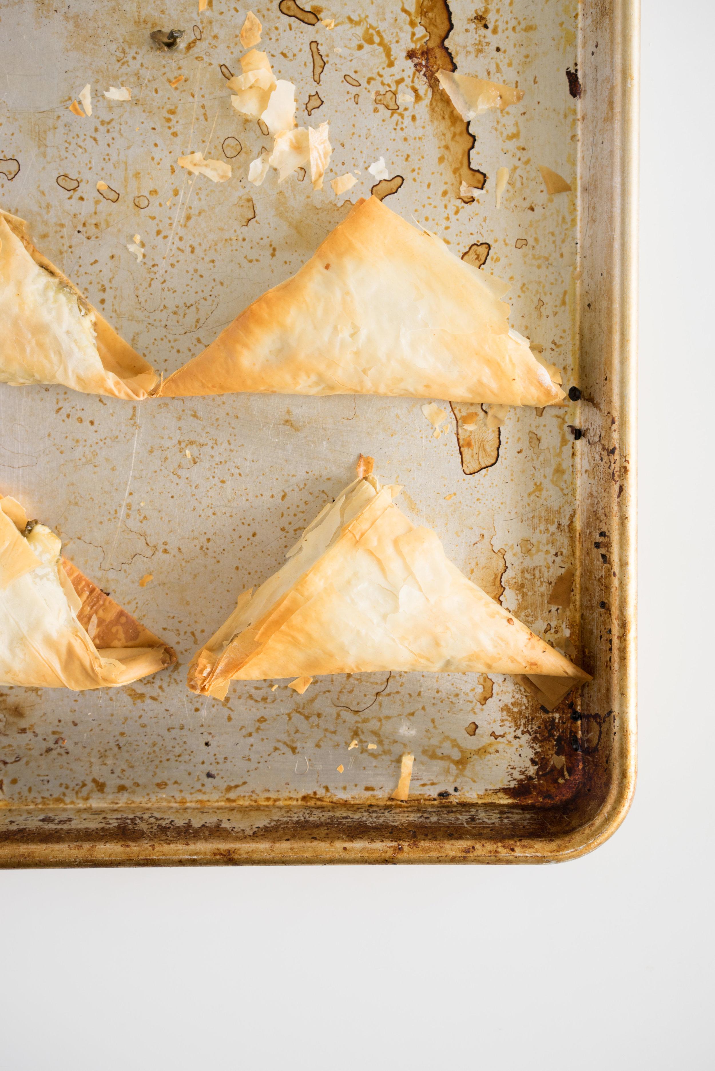 Spinach, feta, mushroom and pesto filo triangles