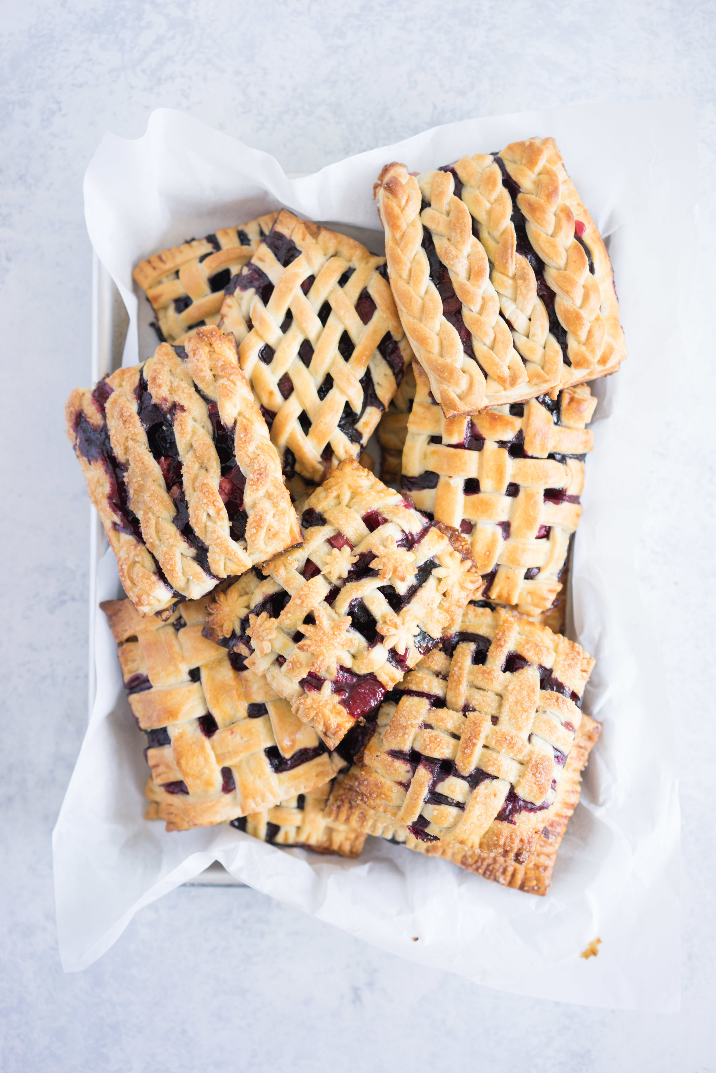 Sour Cherry, Blueberry, and rhubarb hand pies