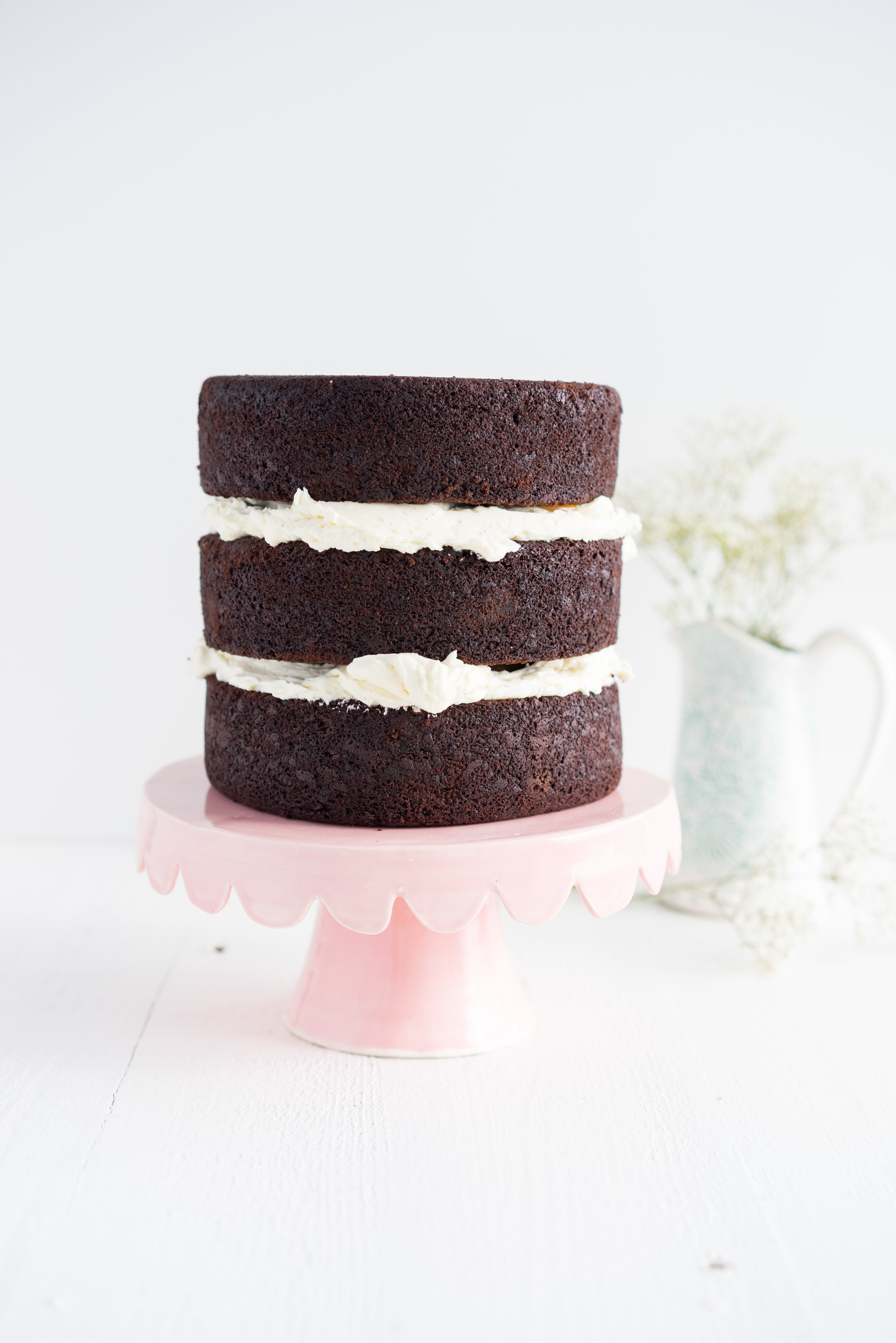 Gluten Free Chocolate Cake with Salted Caramel and Mascarpone German Buttercream. The perfect go-to cake: layers of rich mud cake, smooth salted caramel, and silky german buttercream with a hint of mascarpone.