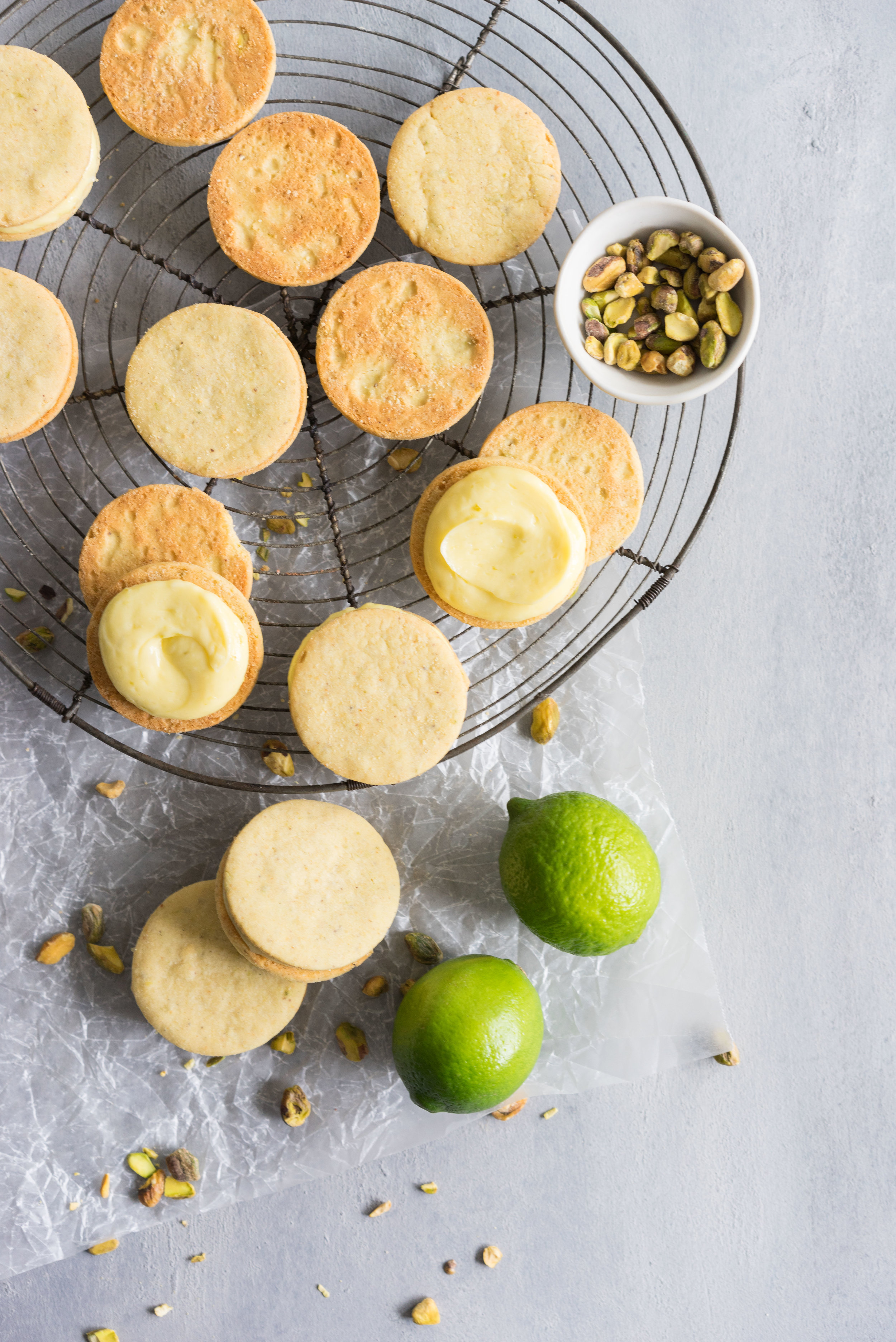 Buttery Pistachio and lime shortbread, sandwiched with a zesty lime cream. #shortbread #lime #Sandwichcookie