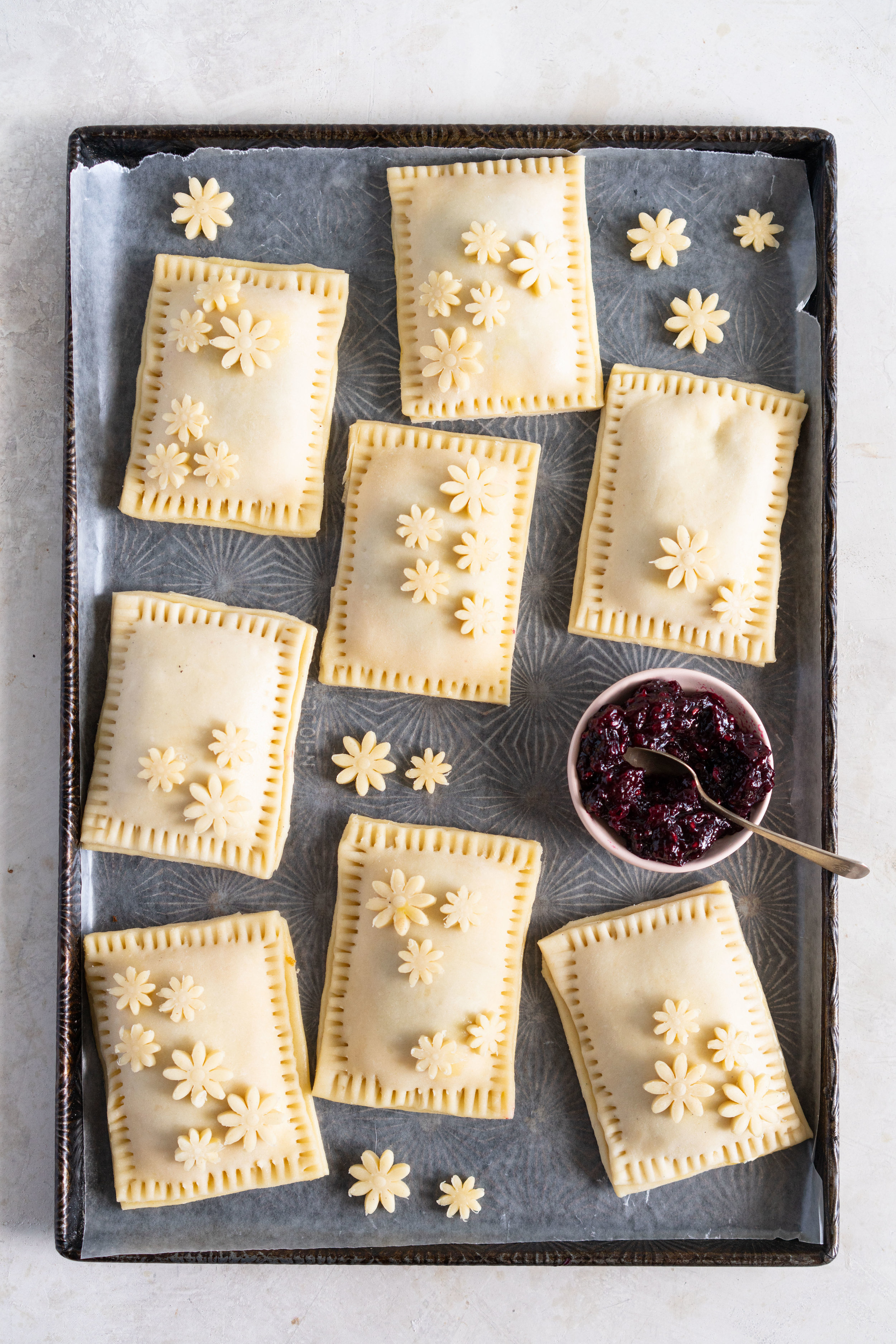 tray of mixed berry jam and cream cheese hand pies.jpg
