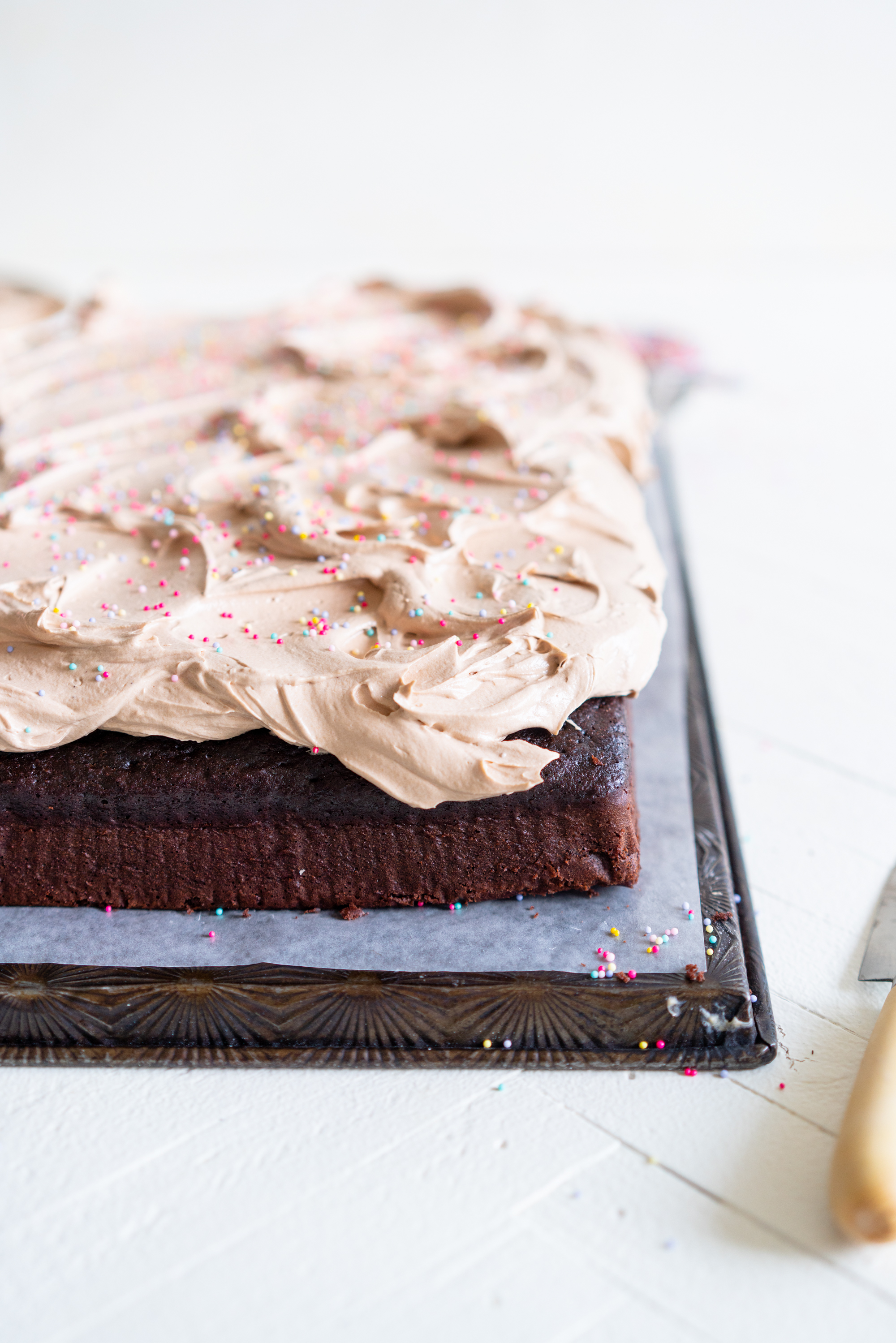 side on of chocolate sheet cake with german buttercream and sprinkles.jpg