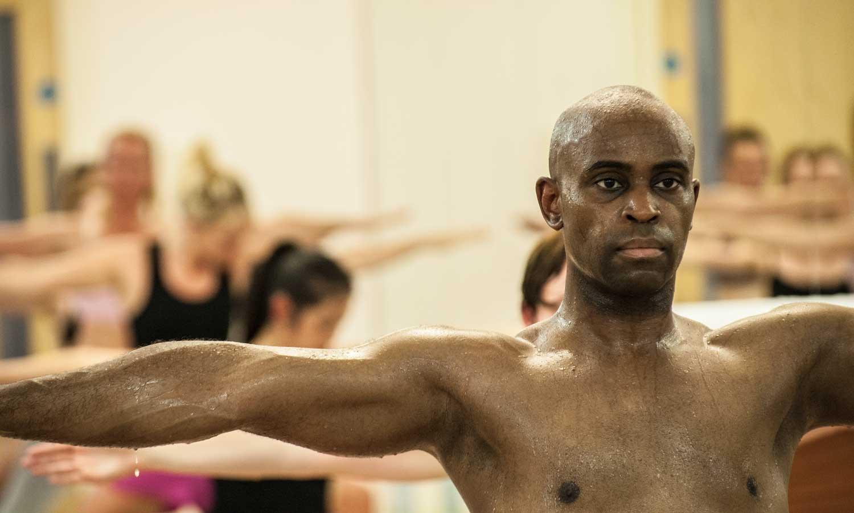 Bikram Hot Yoga Separate Leg Stretching Pose