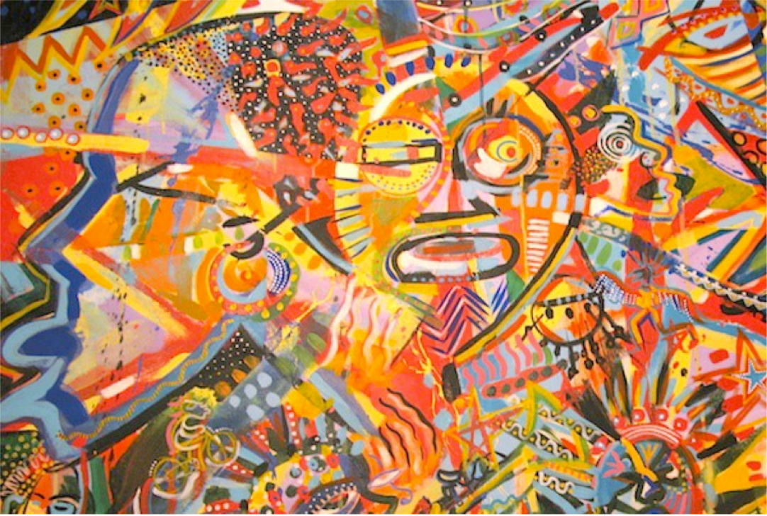 Jackson Burnside ,  Stanley Burnside  and  John Beadle   Enigmatick Funktification (Detail),1996  Acrylic on canvas,52.75''x 151'' National Collection
