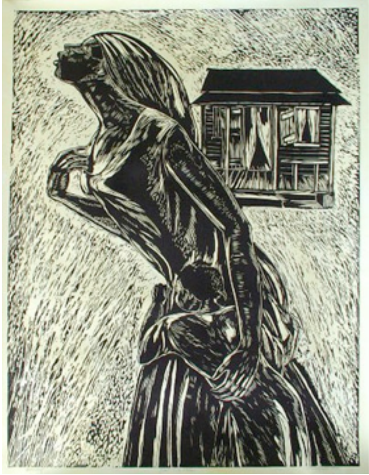 """Max Taylor   Ain't I A Good Mother, 2003  Woodcut,40"""" x 53"""" National Collection"""