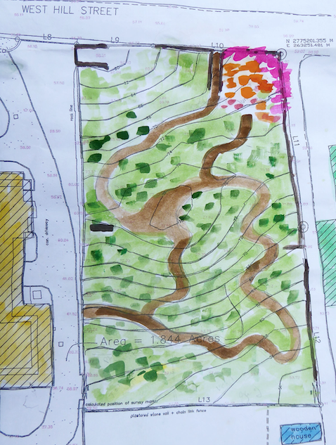 Watercolour by Katrina Vanderlip showing a rough sketch of pathways.