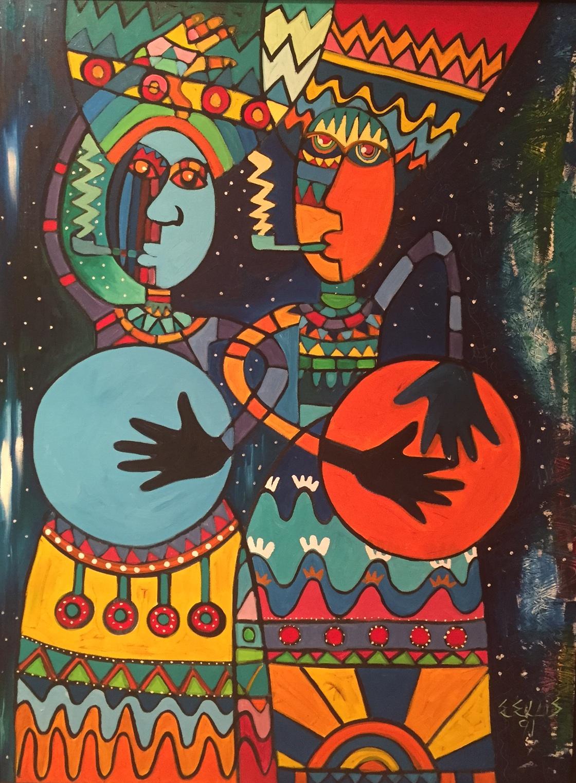 Eric Ellis, Drum It Up ,1991. Oil on Canvas, 42 x 32 ins., D'Aguilar Art Collection.