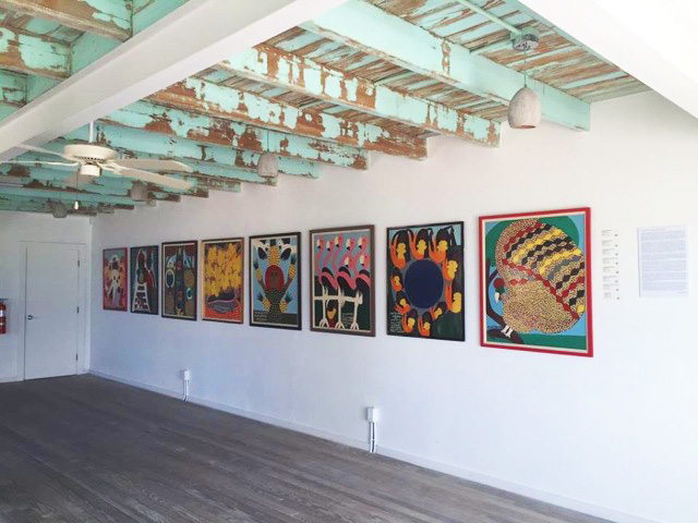 Installation view of 'Max/Amos' in former Old Pyfrom Liquor Store space.