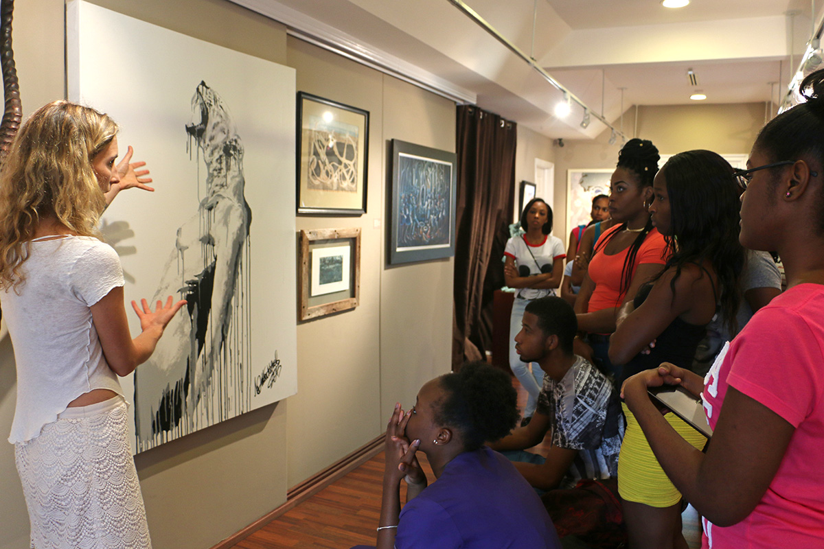 Tessa Whitehead giving COB students a tour of 'Where The Wild Things Are', 2015.