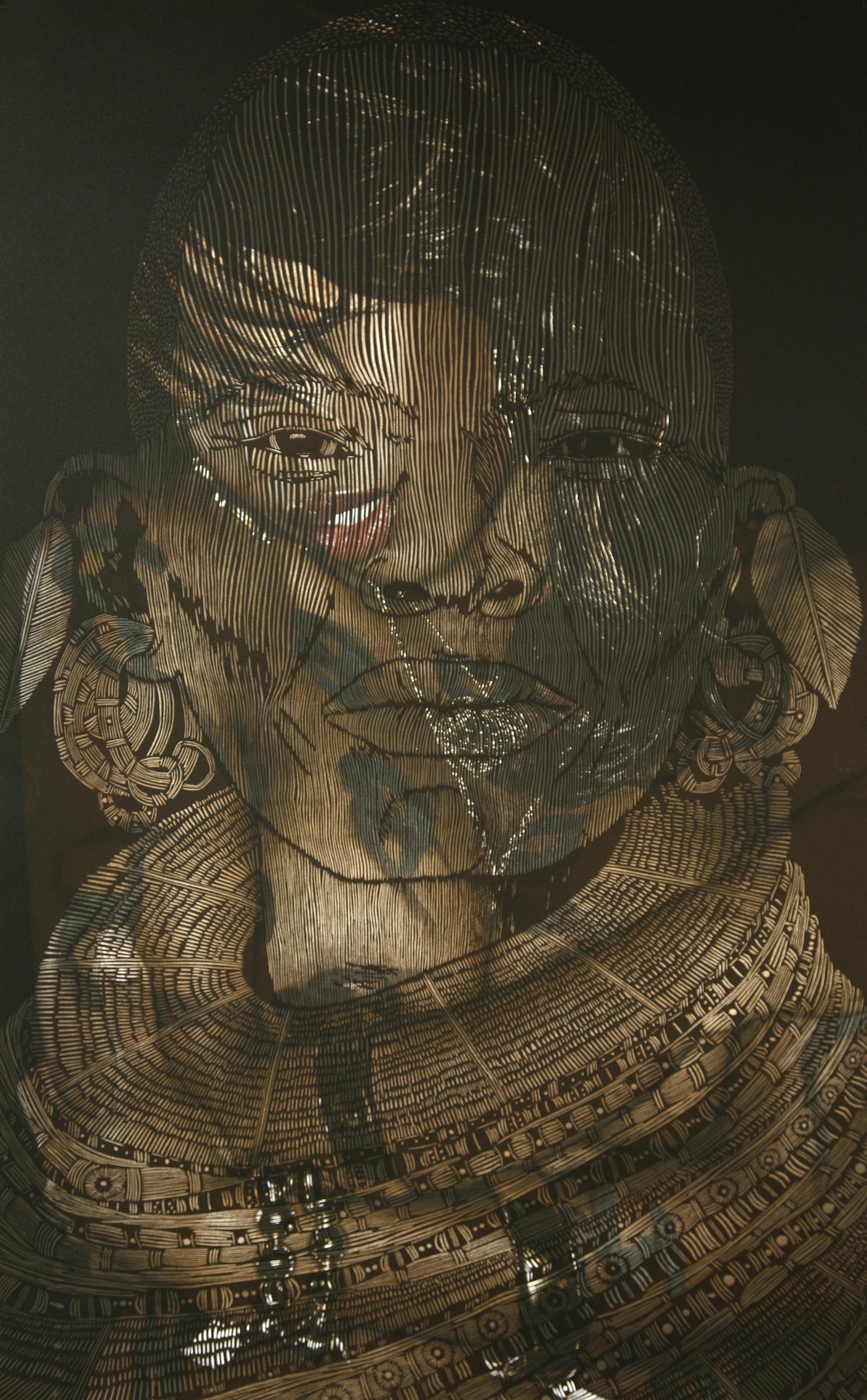 ''Untitled Cut, Fachon/ My Two World' woodblock layered on digital photograph