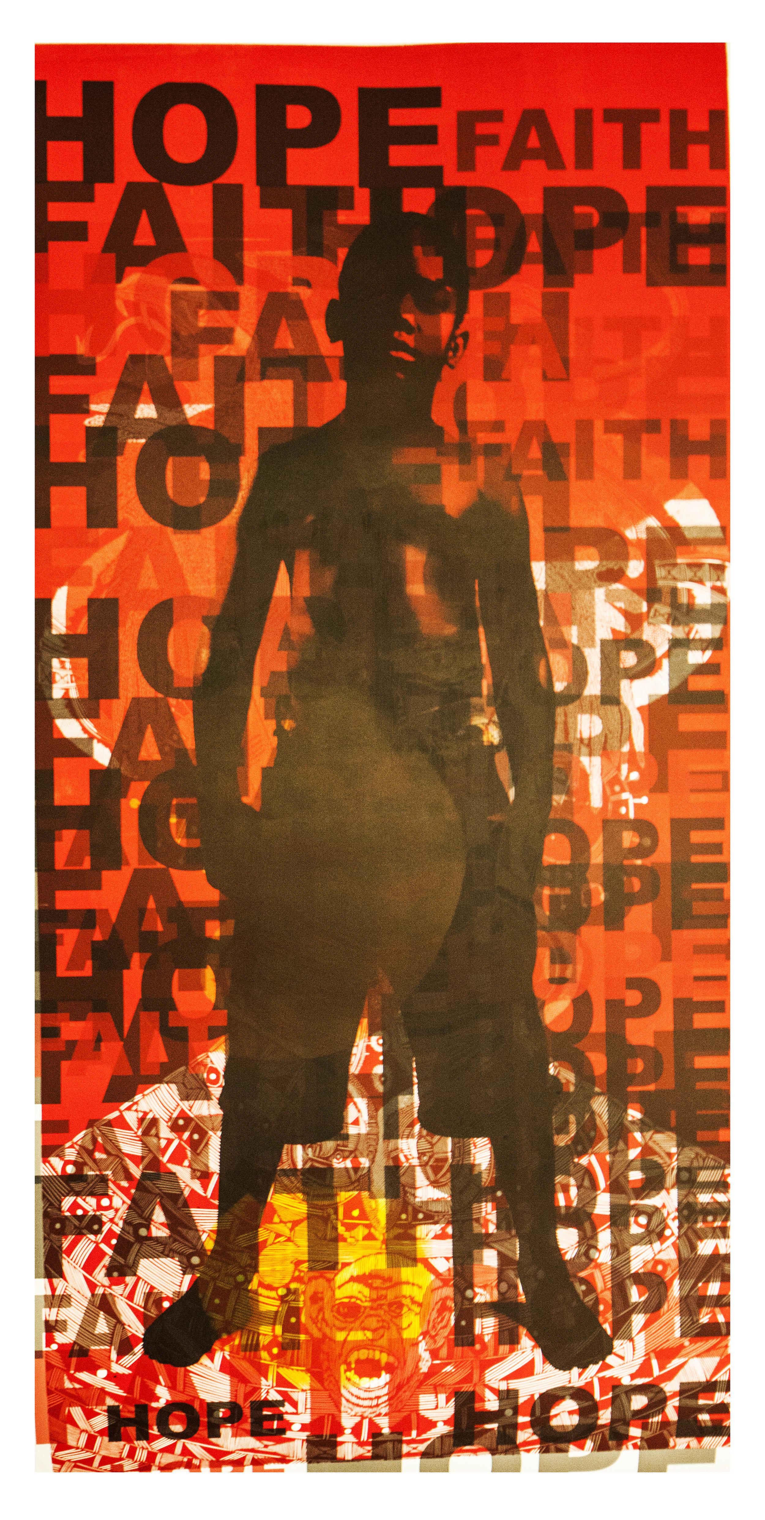 'Camaris Jouary' monoprint layered on digital photograph.
