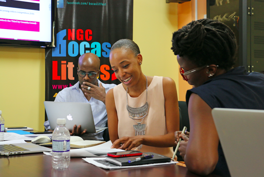 Creative Journalism Workshop Participants - O'Neil Lawrence, Senior Curator, National Gallery of Jamaica; Keisha Oliver Assistant Professor, University of The Bahamas; Melanie Archer, Trinidadian artist, designer, and writer.