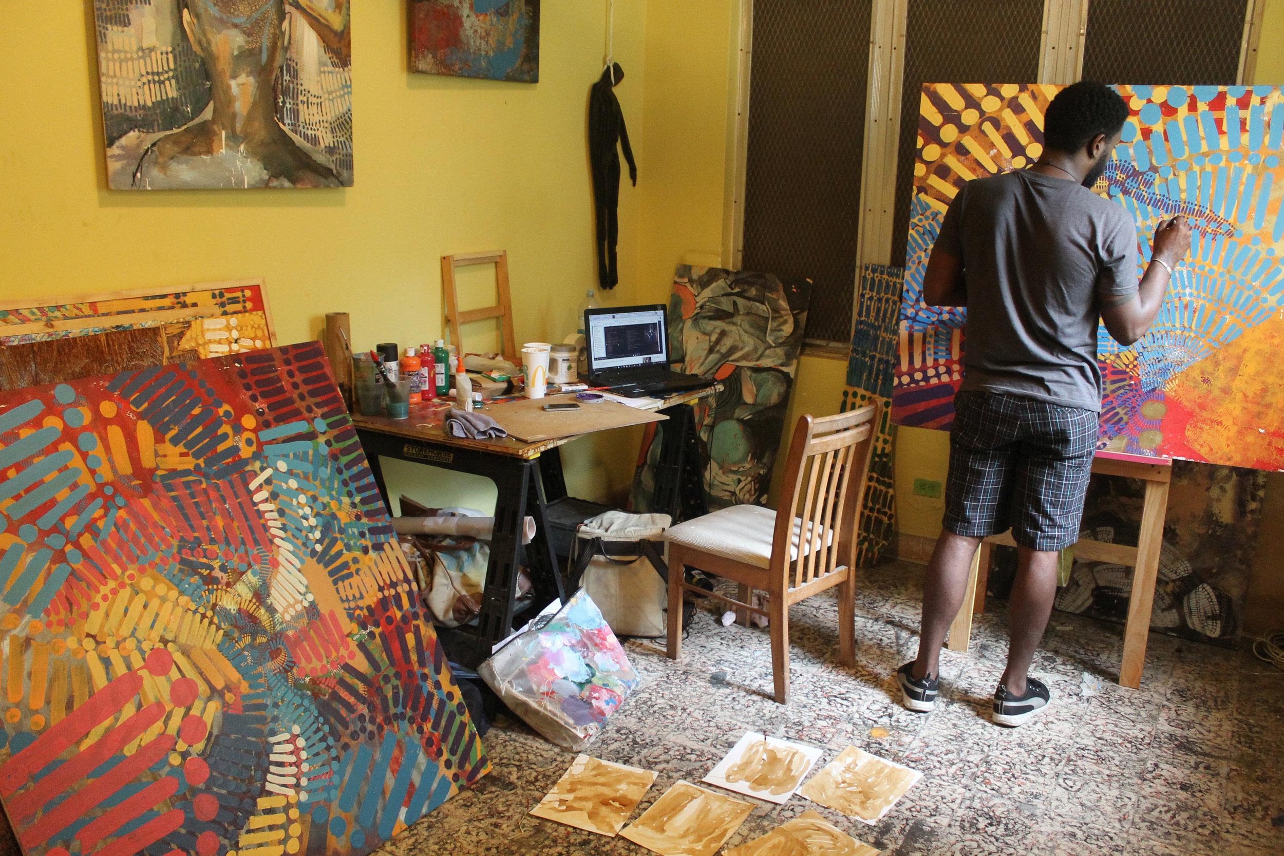 Artist Navarro Newton in his studio working as one of three recipients of the 2016 Popop Junior Residency Prize. Image courtesy of Popopstudios ICVA.
