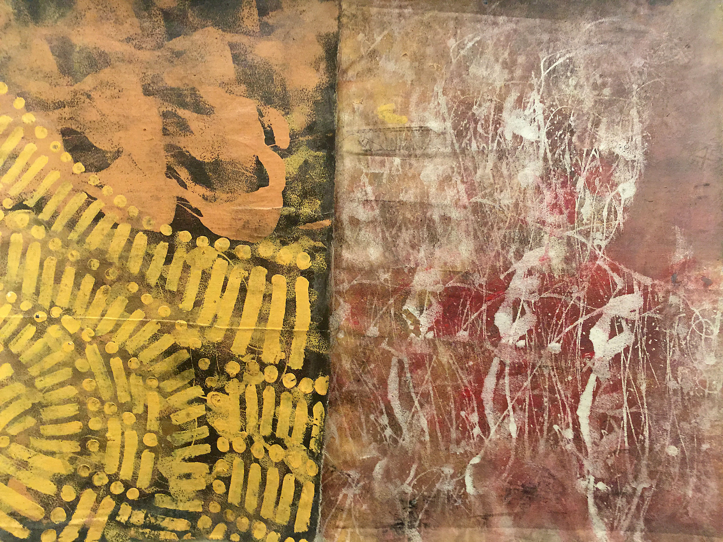 "Navarro Newton, ""Parchment"" (2016), Acrylic on wood, 36"" x 52"". Part of 'Metanoia', Newton's solo show as part of the PJRP."