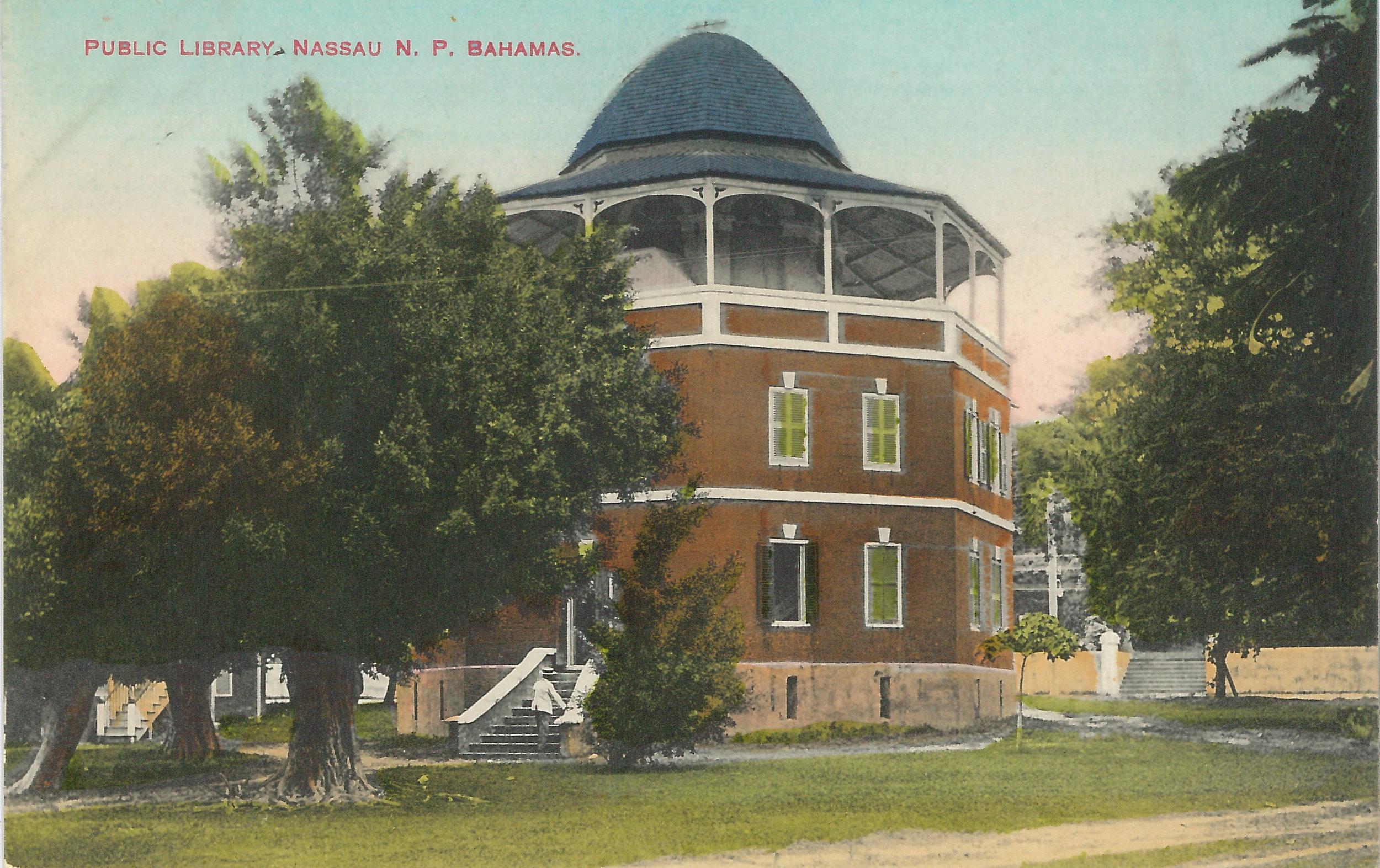 "'Public Library' (estimated c.1890-1930), handcoloured colonial-era postcard by James ""Doc"" Sands."