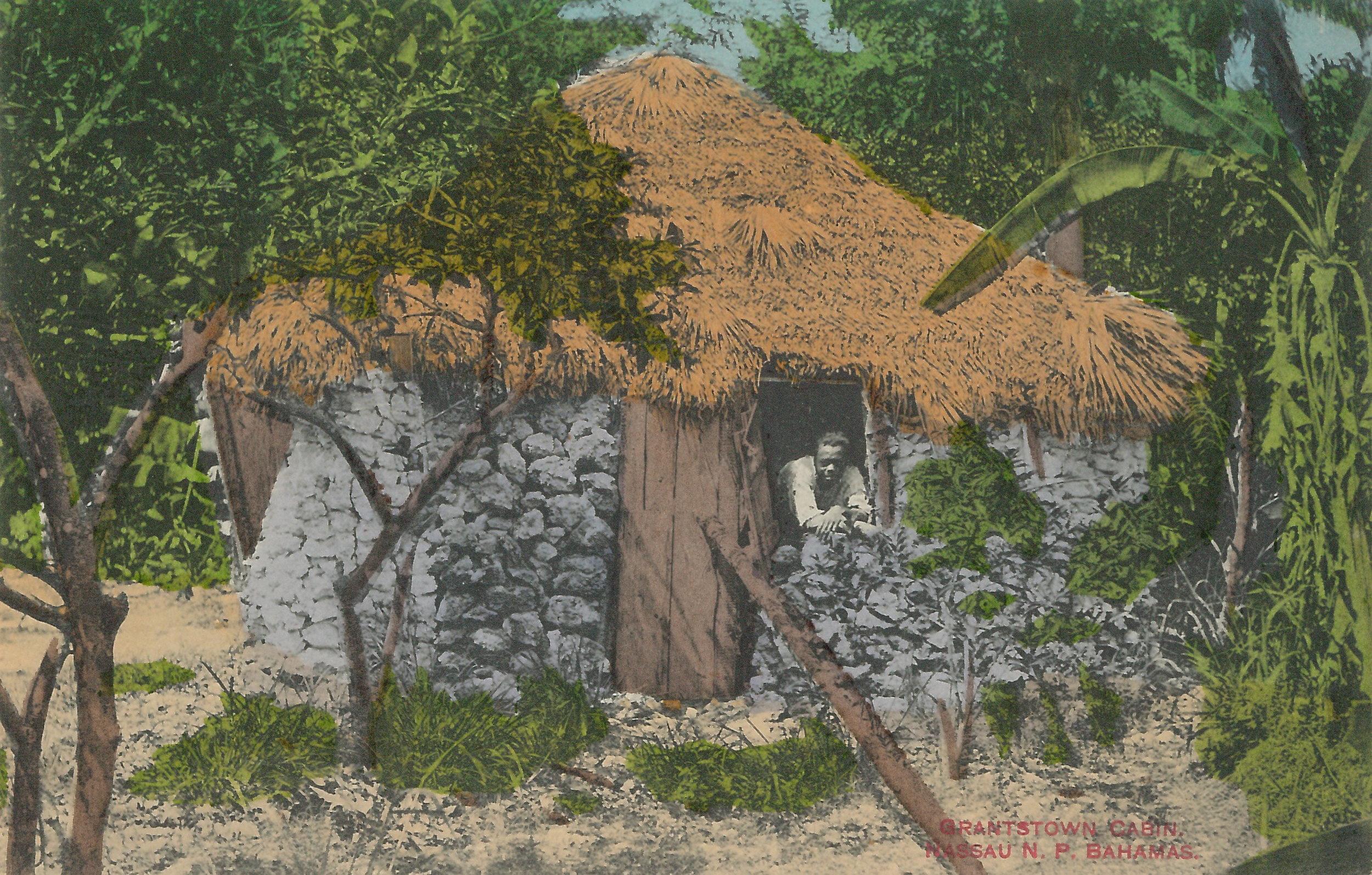 "'Grantstown Cabin' (estimated c.1890-1930), handcoloured colonial-era postcard by James ""Doc"" Sands."