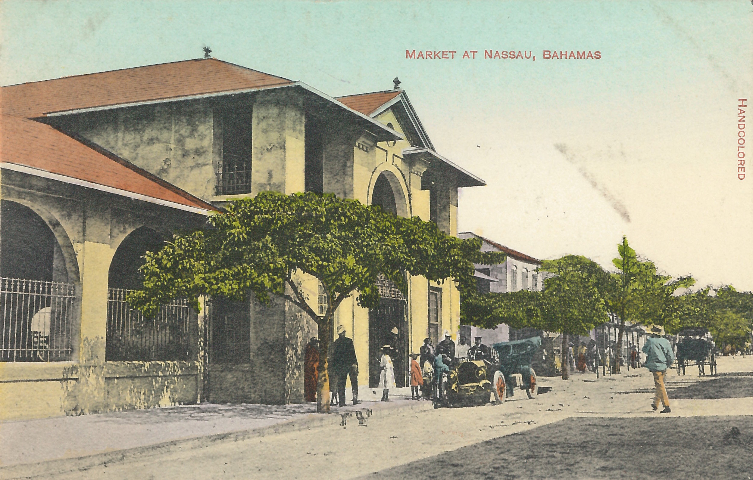'Market At Nassau, Bahamas'  (estimated c.1890-1930). Handcoloured colonial-era postcard by unknown artist. Image courtesy of the NAGB. Part of the National Collection.