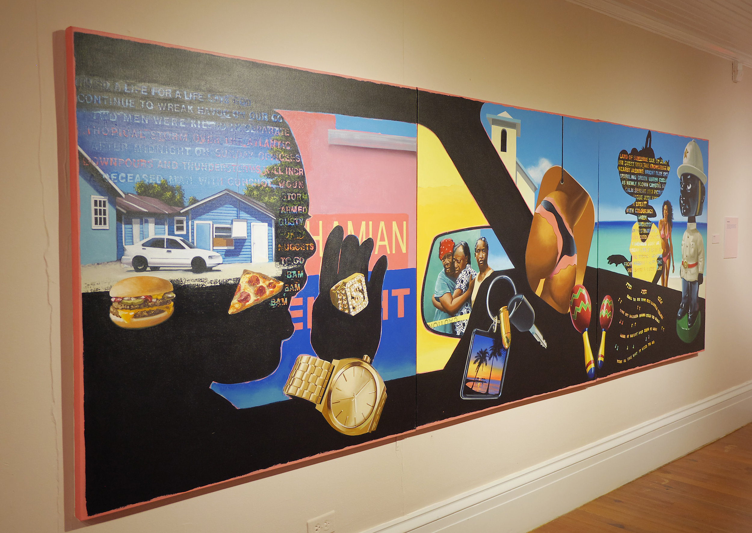 """Dave Smith. """"Passin thru."""" Acrylic on Canvas, 48"""" x 144"""", 2016. Image courtesy of the NAGB."""