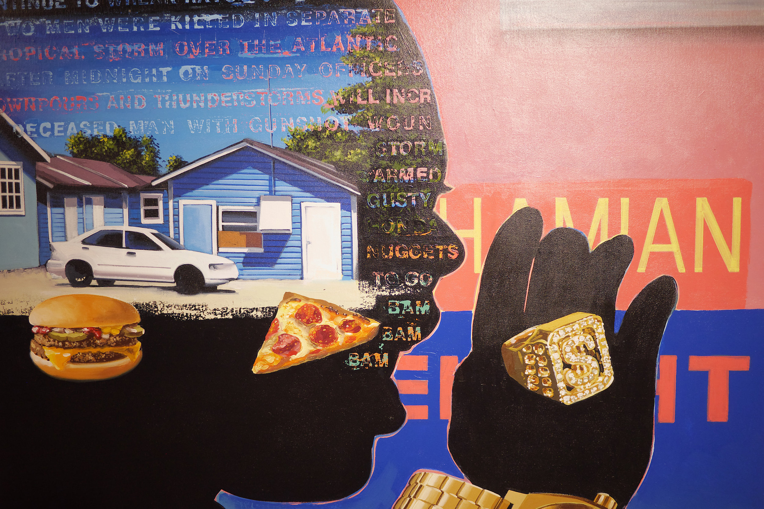 """Dave Smith. Detail of """"Passing thru"""", Acrylic on Canvas, 48"""" x 144"""", 2016. Image courtesy of the NAGB"""